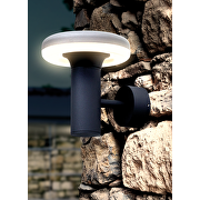 LED outdoor wall lighting fixture 6W, 2700K, IP65, round, graphite